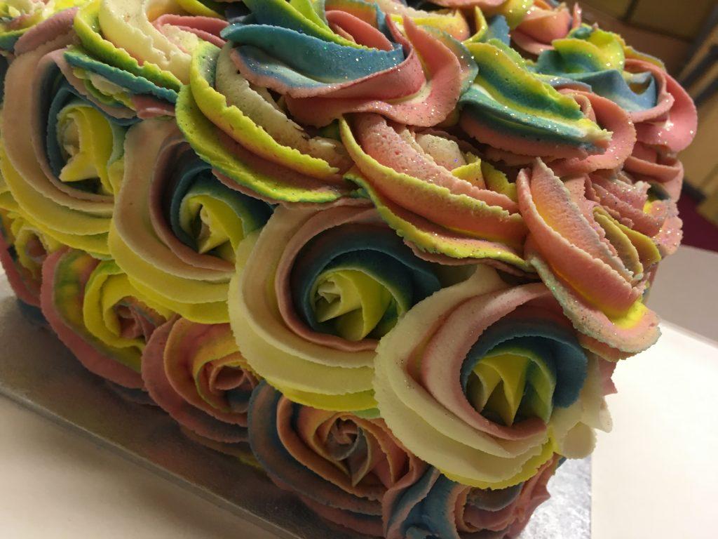 Unicorn Coloured Rosette Cake